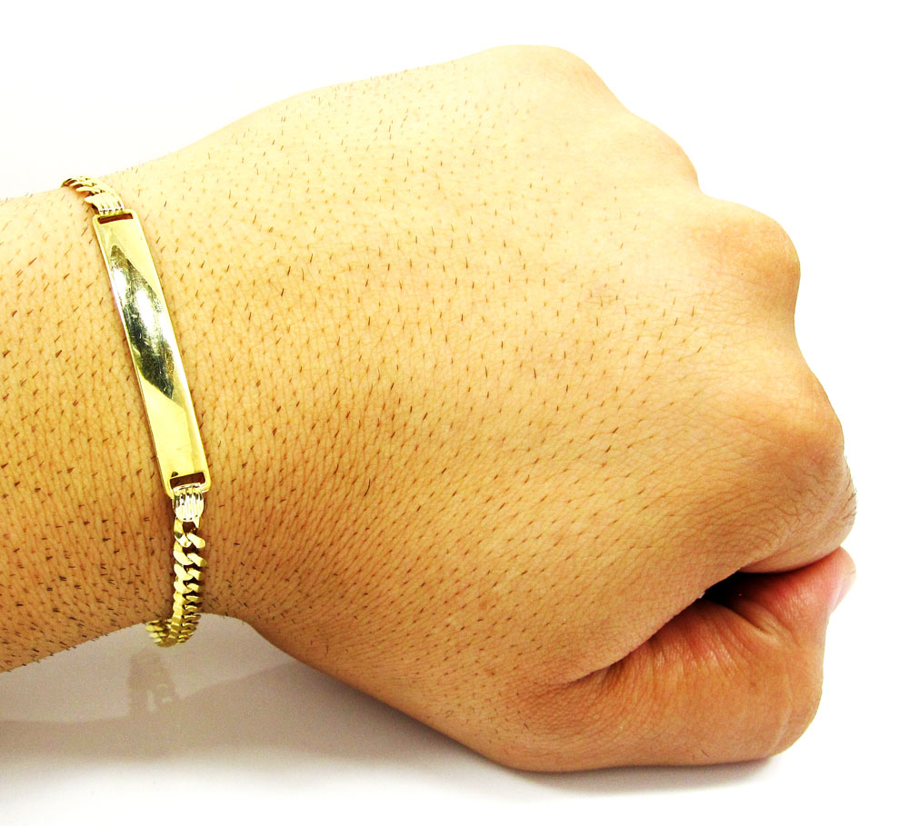 10k yellow gold cuban id bracelet 8.25 inch 4.5mm