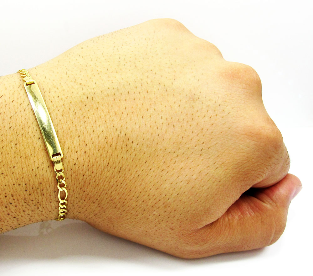 10k yellow gold figaro id bracelet 8 inch 4.2mm