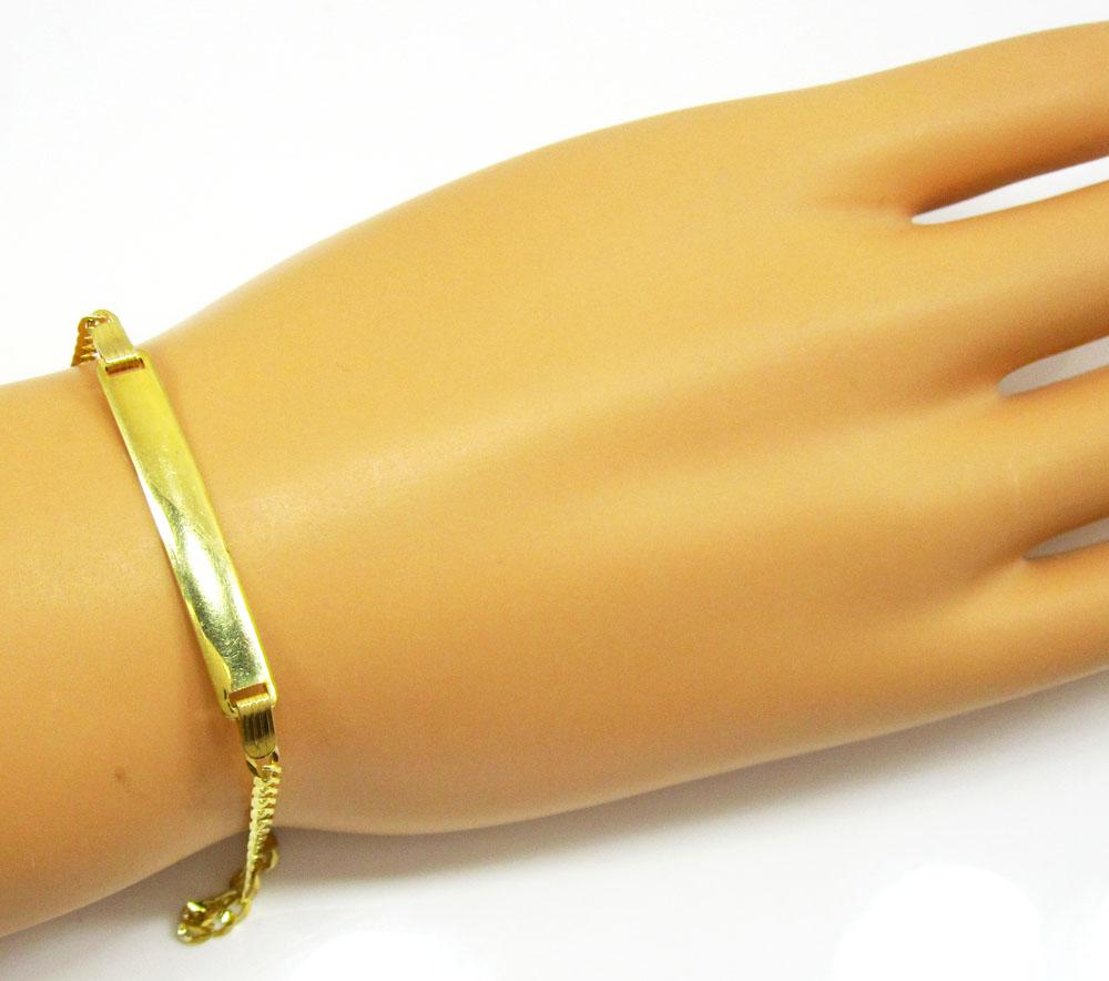 10k yellow gold cuban id bracelet 8 inch 3mm