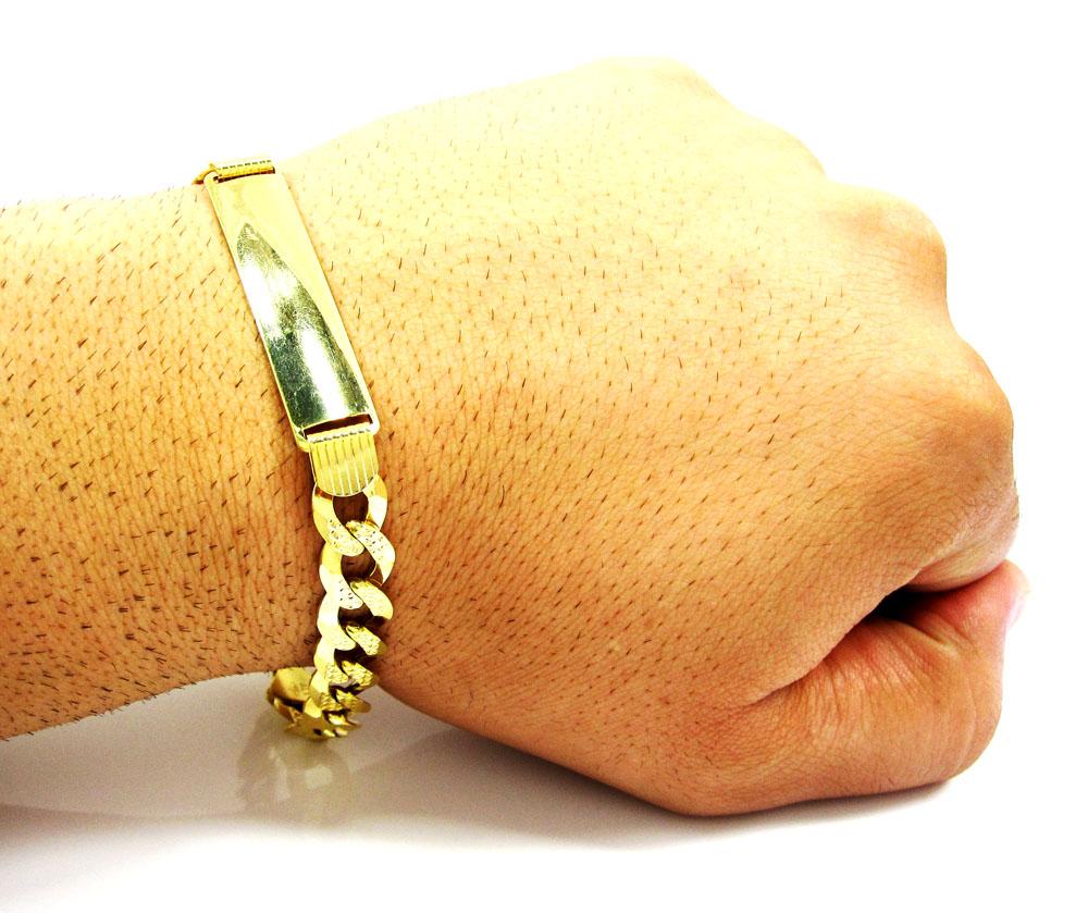 10k yellow gold diamond cut thick cuban id bracelet 9 inch 9.5mm