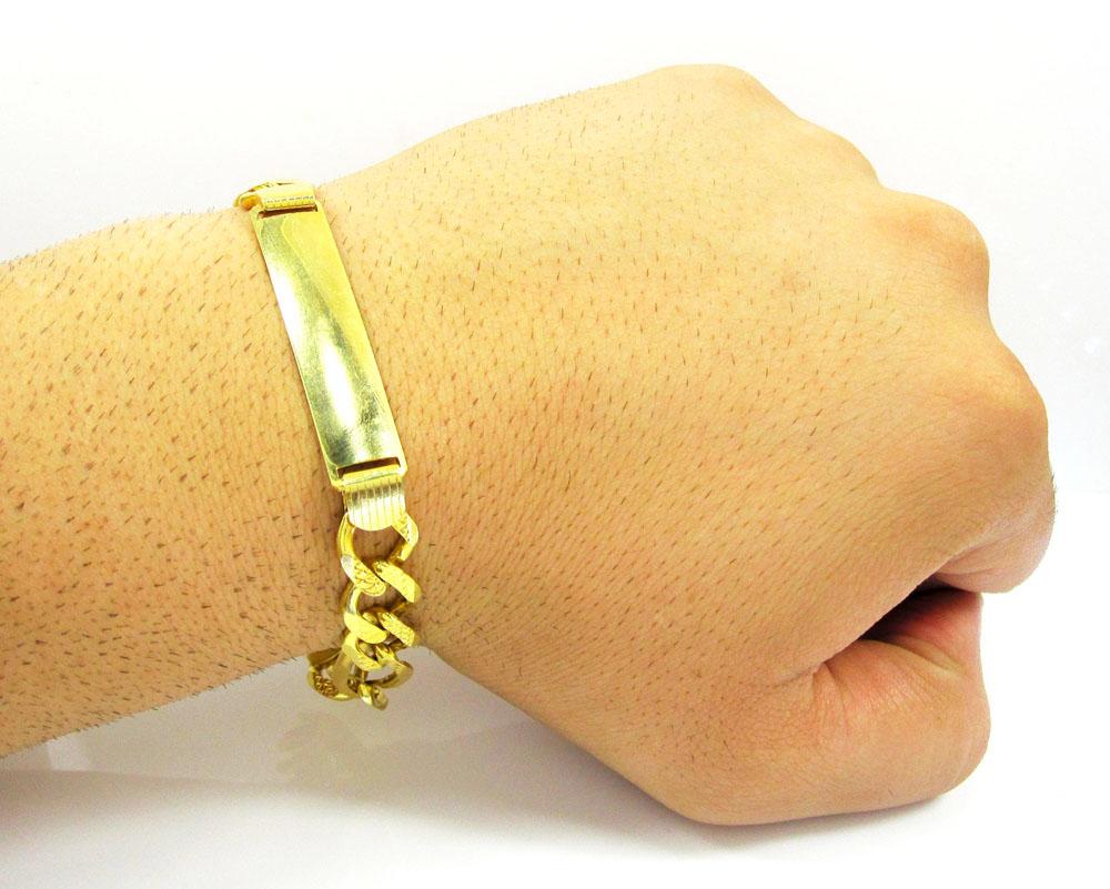 10k yellow gold diamond cut figaro id bracelet 8.75 inch 11mm