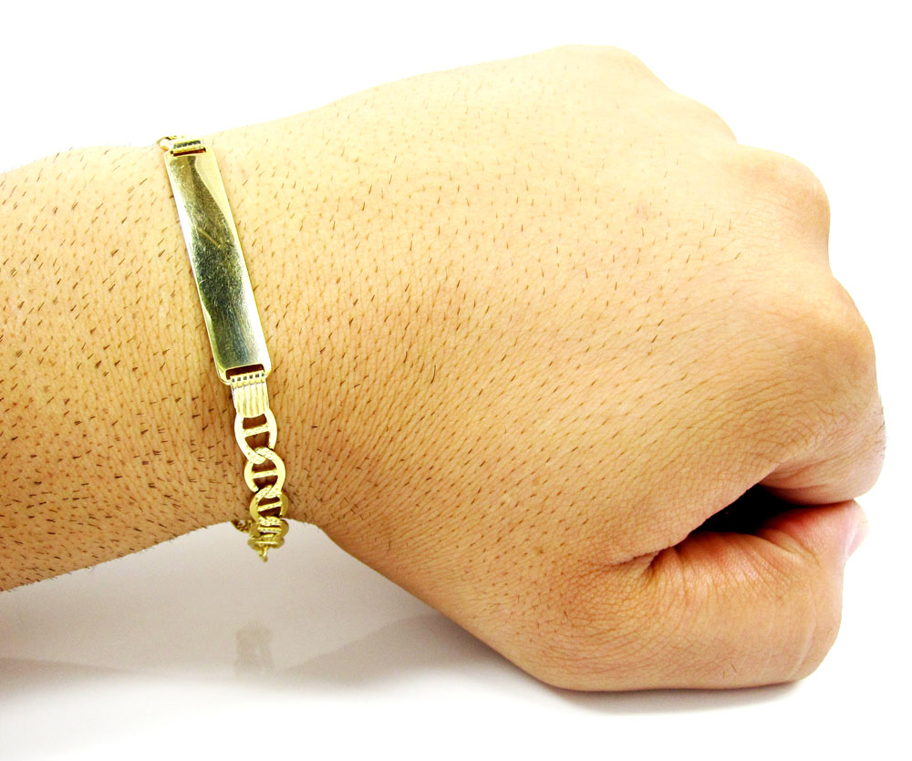 10k yellow gold diamond cut mariner id bracelet 8.5 inch 6.3mm