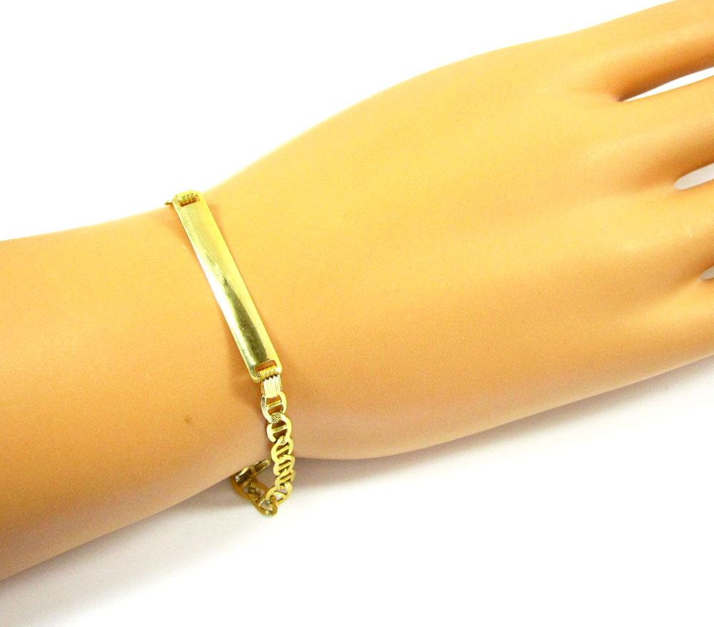 10k yellow gold diamond cut mariner id bracelet 7 25 inch 4 2mm