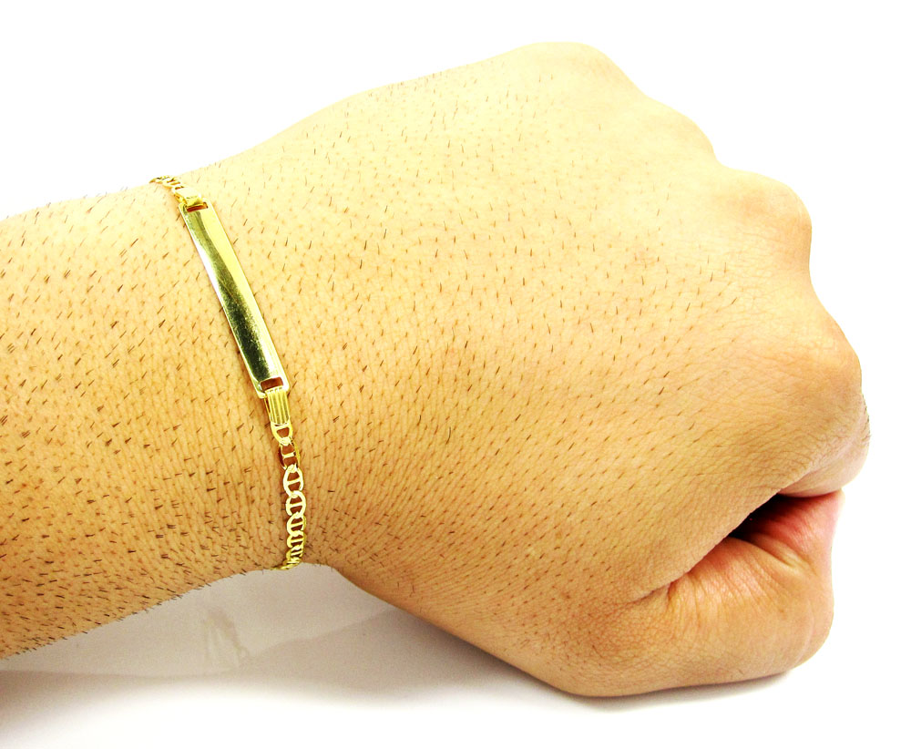 10k yellow gold diamond cut mariner id bracelet 8 inch 3.2mm