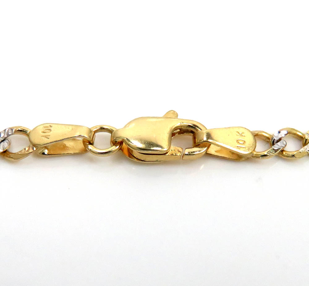 10k yellow gold diamond cut figaro id bracelet 7.25 inch 2.9mm