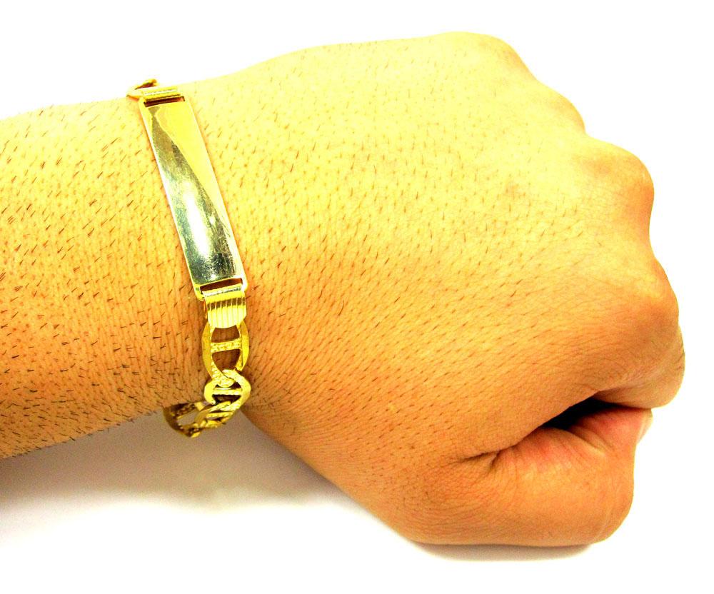 10k yellow gold diamond cut mariner id bracelet 8.5 inch 9mm