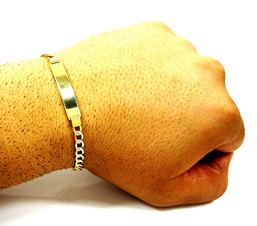 10k yellow gold diamond cut cuban id bracelet 8 inch 4.7mm