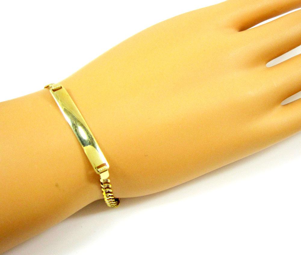 10k yellow gold diamond cut cuban id bracelet 7 inch 3.7mm