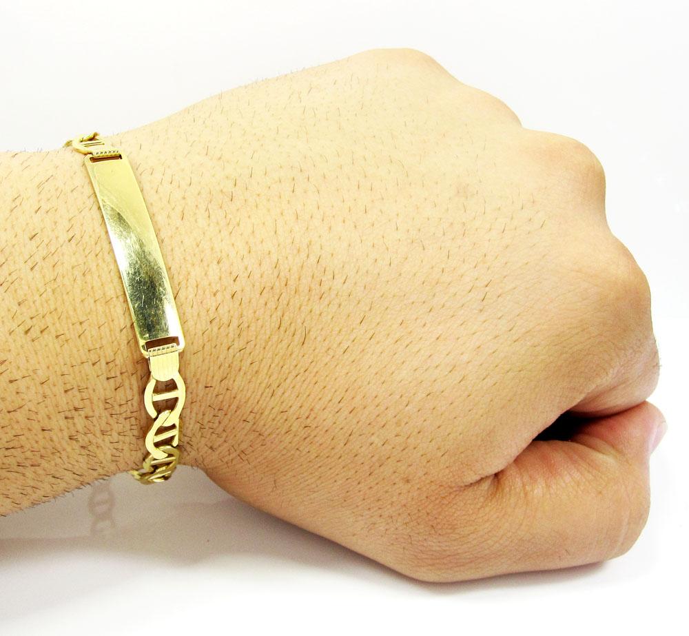 10k yellow gold mariner id bracelet 8.5 inch 7.5mm