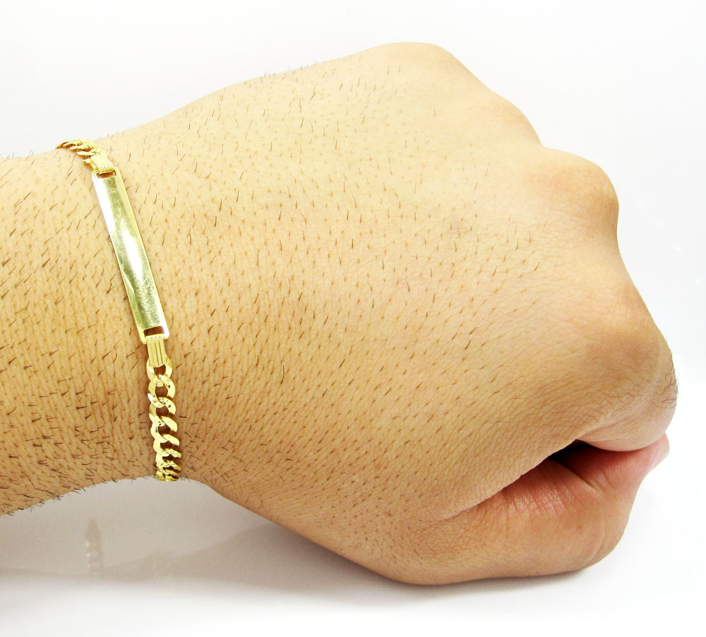 10k yellow gold diamond cut cuban id bracelet 8 inch 4.8mm