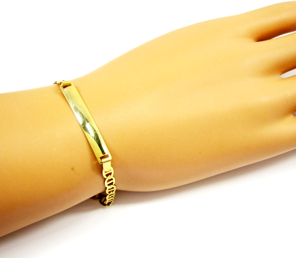 10k yellow gold mariner id bracelet 8 inch 4.3mm