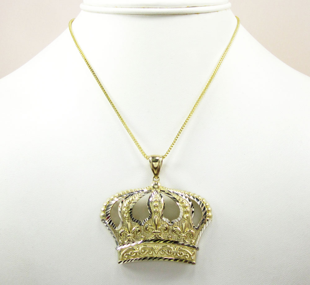 10k fancy diamond cut crown pendant