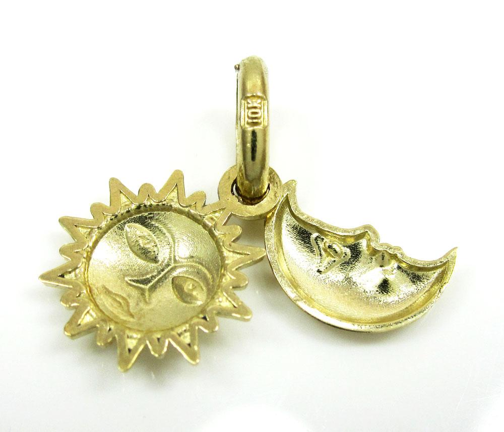 10k yellow gold sun & moon pendant