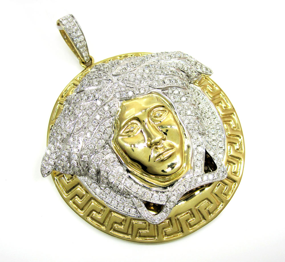 14k yellow gold medusa head diamond pendant 6.66ct