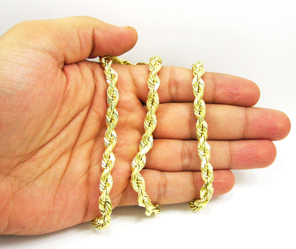 10k yellow gold thick solid rope chain 22-28 inch 6.5mm