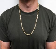10k yellow gold solid rope chain 20-26 inch 5mm