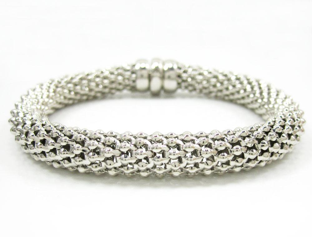 14k white gold fancy popcorn bracelet 7.75 inch 8.3mm