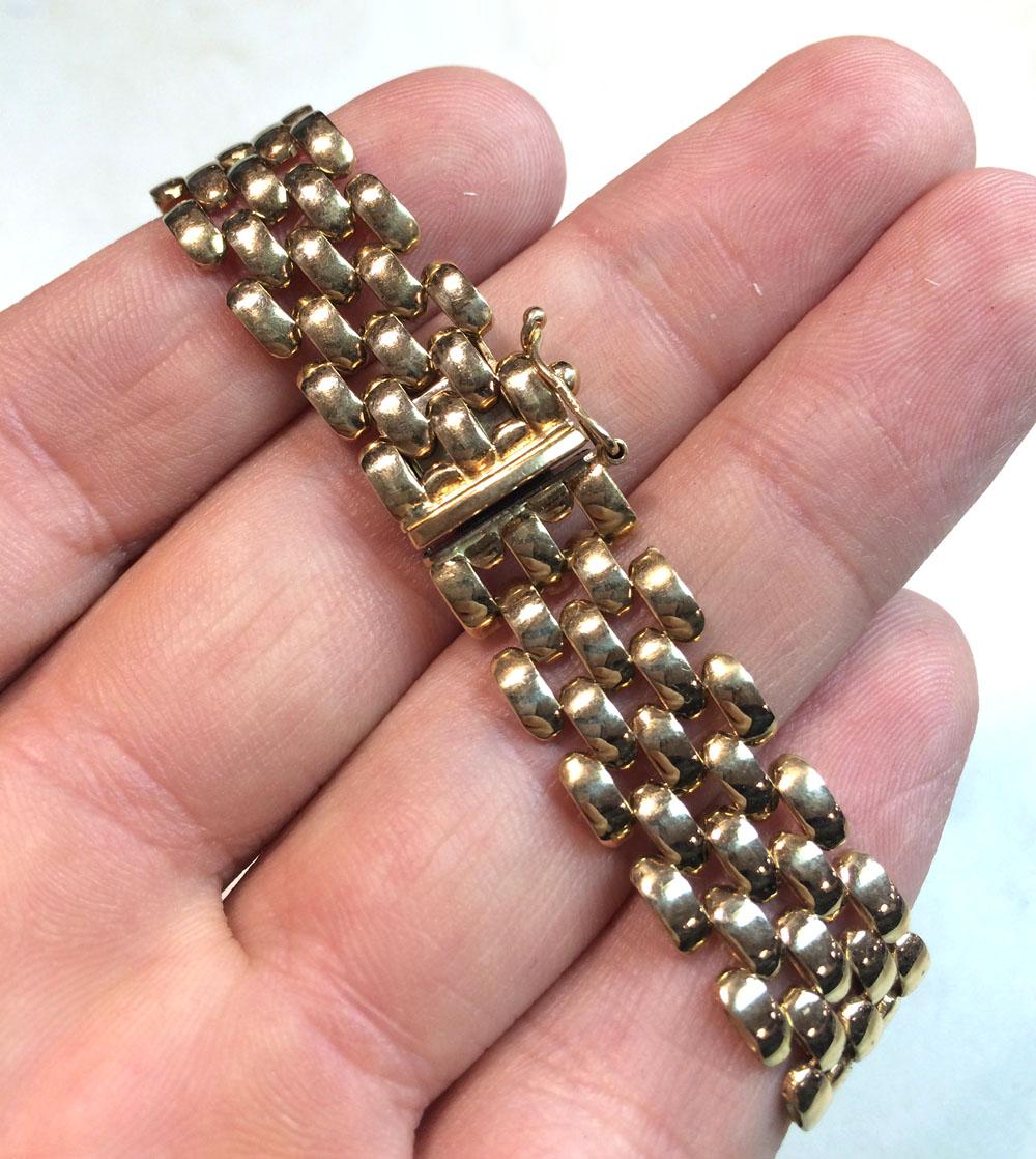 14k yellow gold fancy bracelet 7.25 inch 12mm