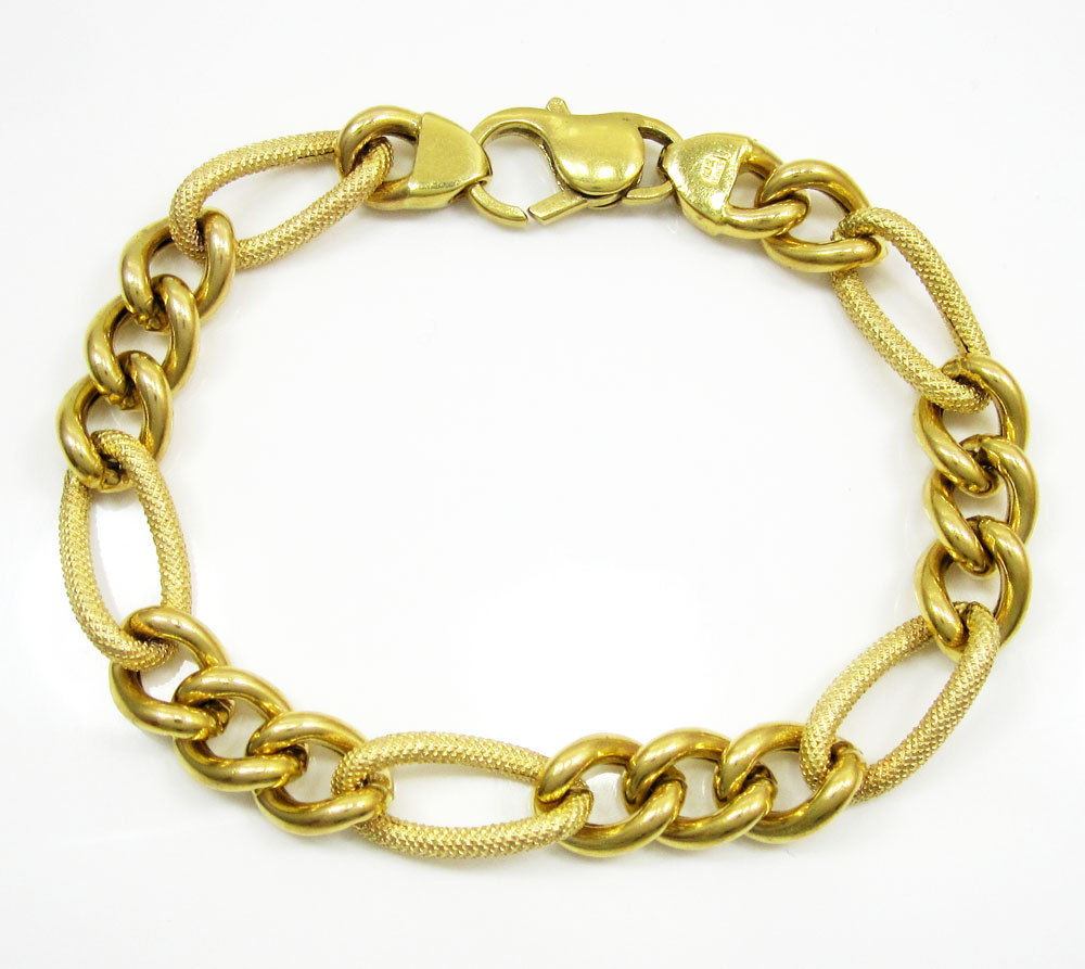 14k yellow gold puffed figaro bracelet 7.75 inch 9mm