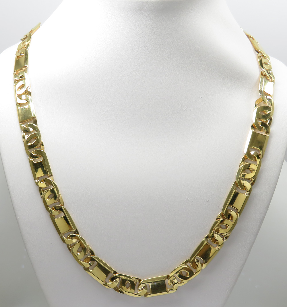 14k Yellow Gold Thick Tiger Eye Link Chain 26 Inch 10mm