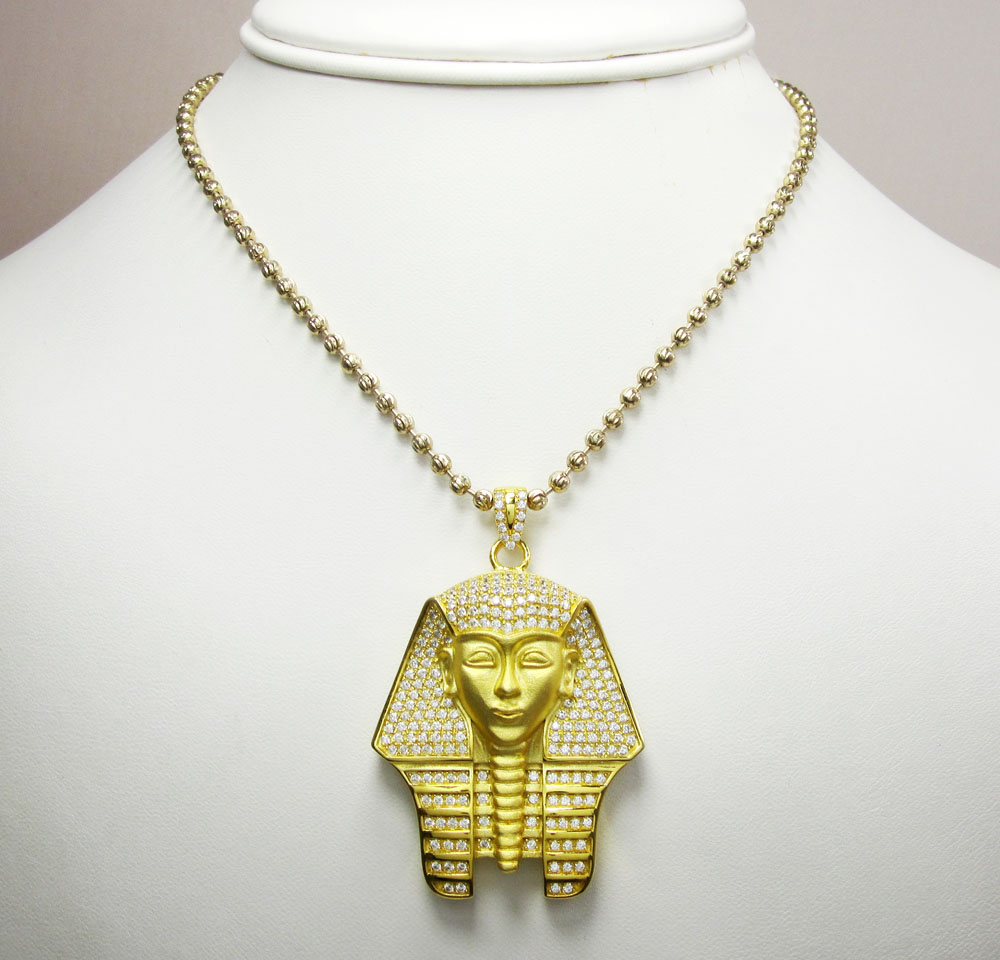 Sterling silver pharaoh face cz pendant with chain 2.50ct