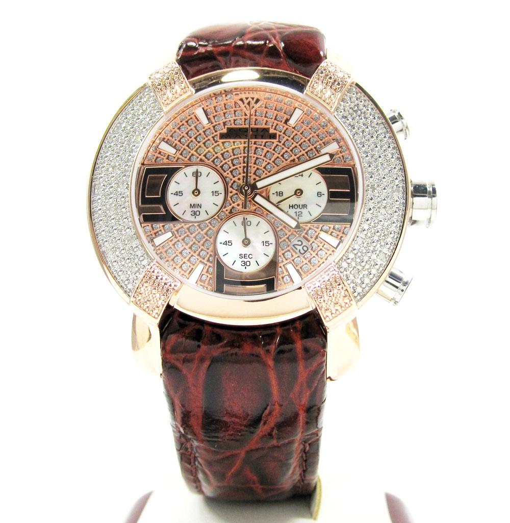 Mens aqua master rose stainless steel diamond watch 0.20ct