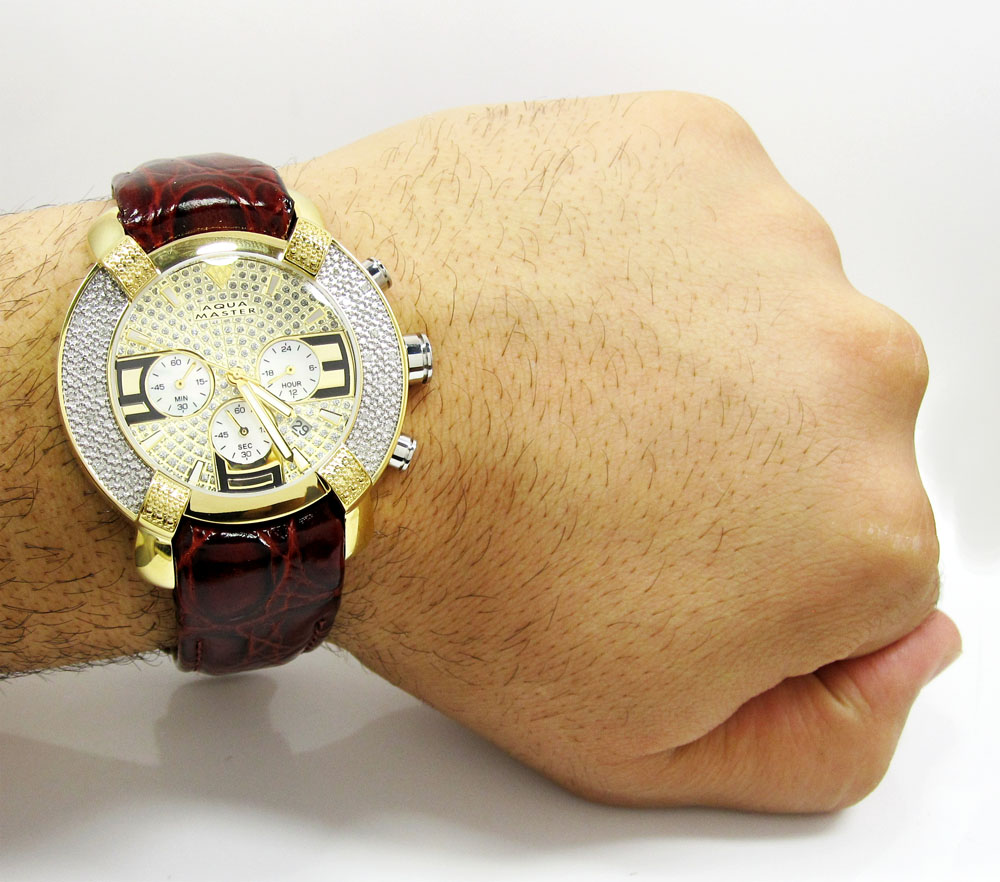 Mens aqua master yellow stainless steel diamond watch 0.20ct