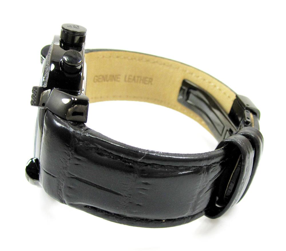 Mens aqua master black stainless steel diamond watch 0.20ct