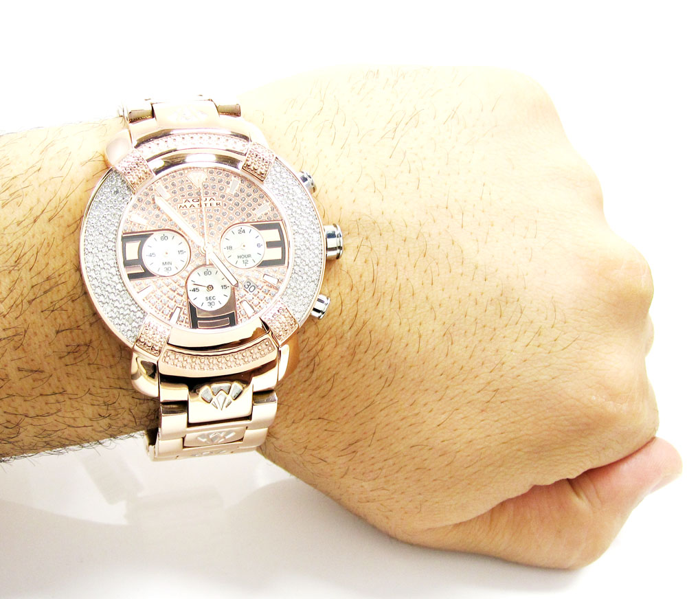 Mens aqua master stainless steel diamond watch 0.20ct