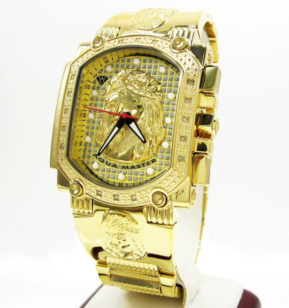 Mens aqua master stainless steel diamond jesus face watch for Aqua marine watches