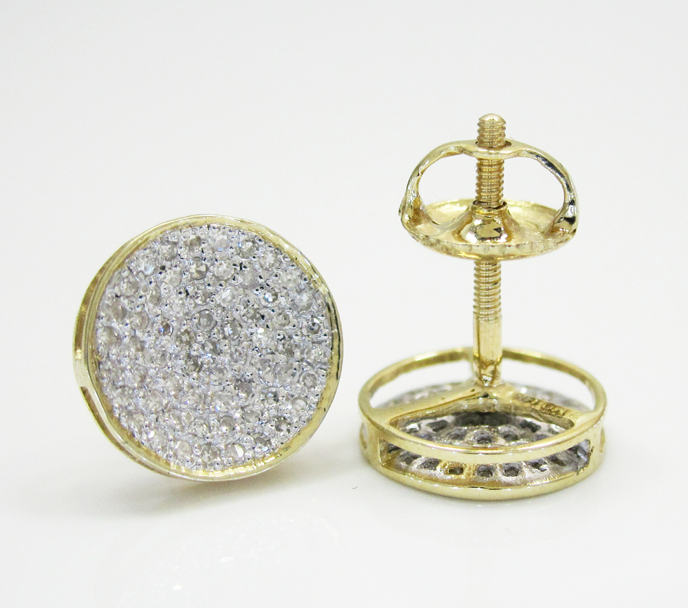 14k gold diamond snow cap 8.2mm earrings 0.25ct