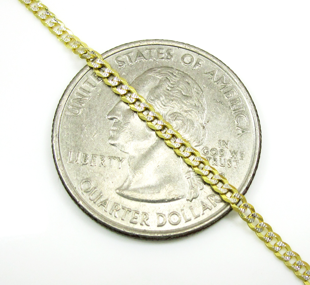 10k yellow gold diamond cut cuban chain 16-20 inch 2mm