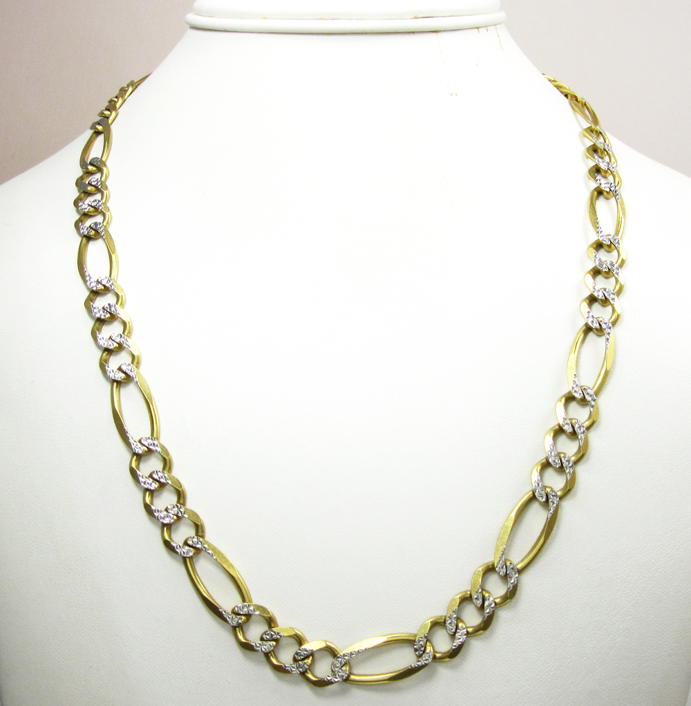10k yellow gold diamond cut figaro chain 36 inch 9.5mm