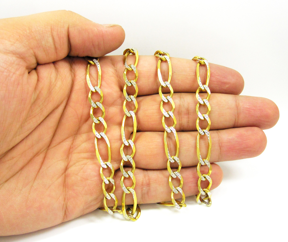 10k yellow gold diamond cut figaro chain 30 inch 8mm