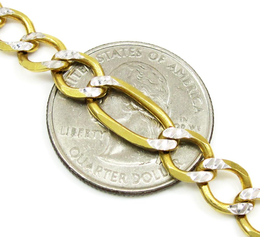 10k yellow gold diamond cut figaro chain 20 inch 7.2mm