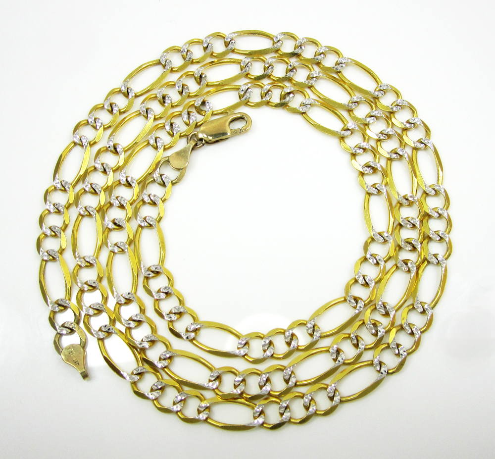 10k yellow gold diamond cut figaro chain 26 inch 6mm