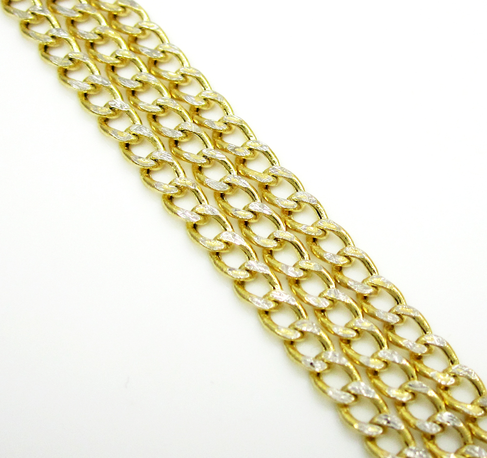 10k yellow gold diamond cut cuban chain 18-24 inch 2.5mm