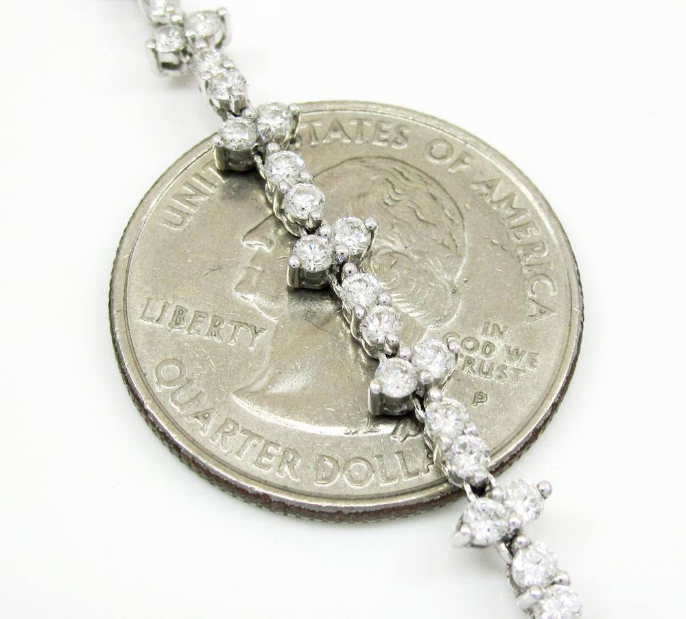 Ladies 18k white gold cluster diamond necklace 5.00ct