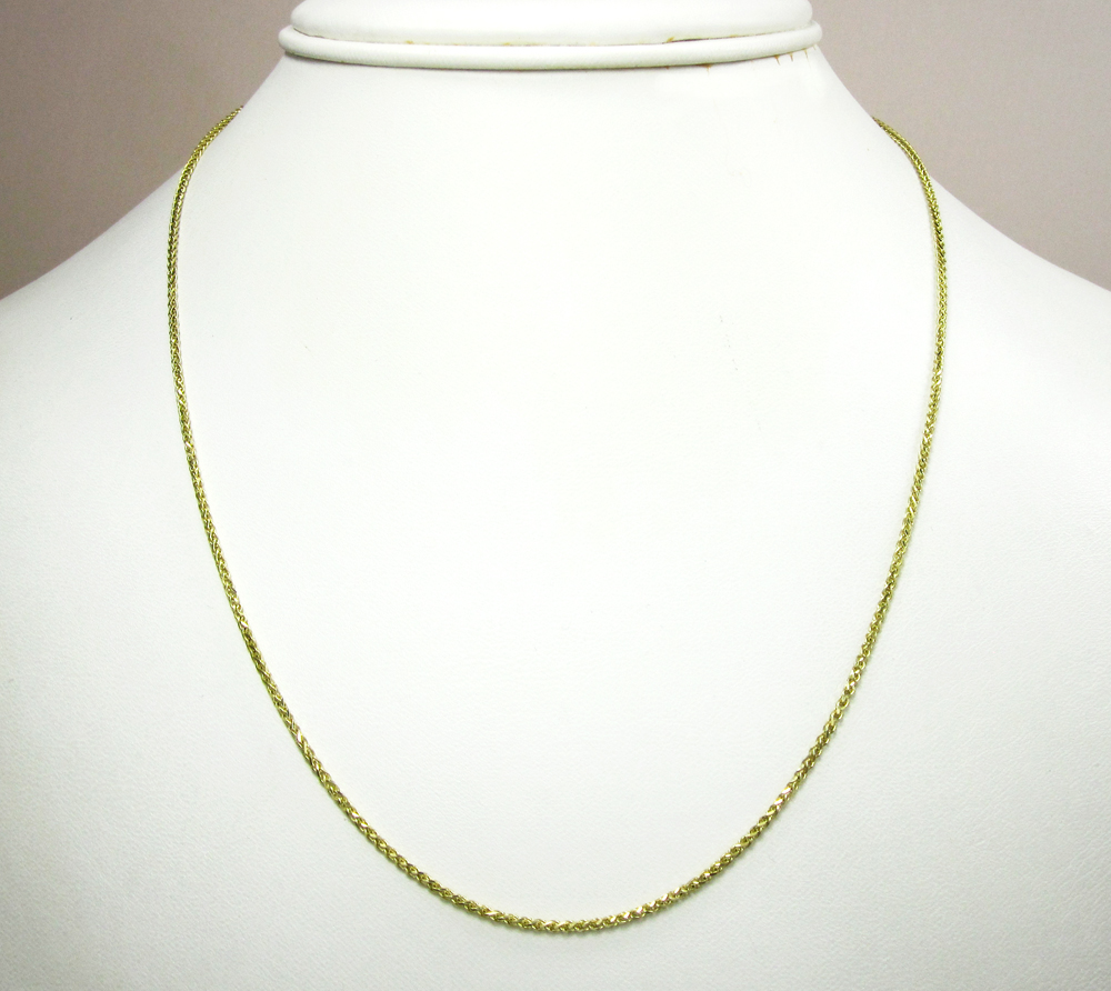 14k solid yellow gold wheat chain 18-20 inch 1.4mm