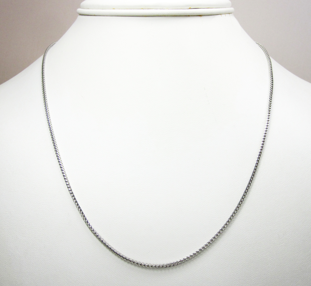 14k solid white gold franco chain 18-30 inch 1.5mm