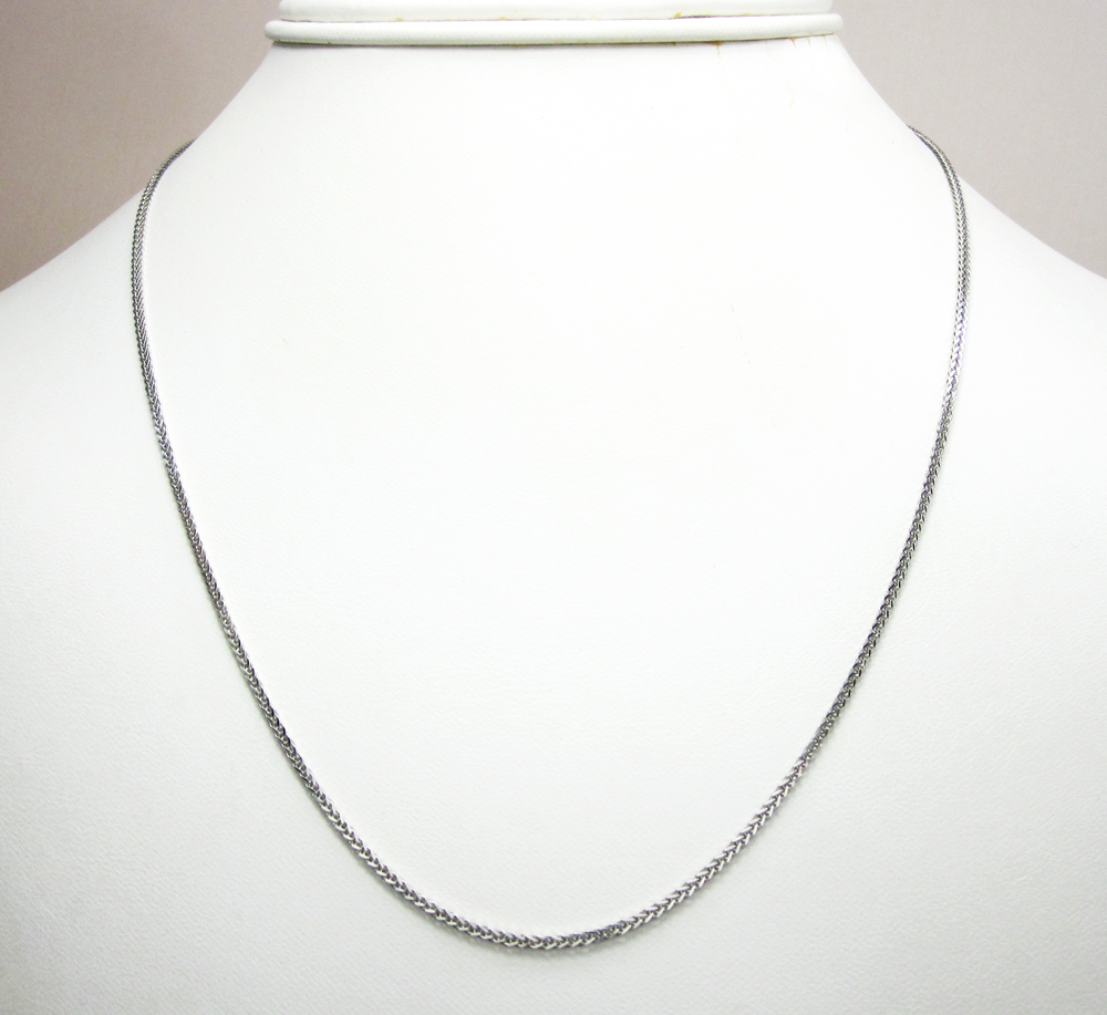 14k solid white gold solid wheat chain 16-20 inch 1mm