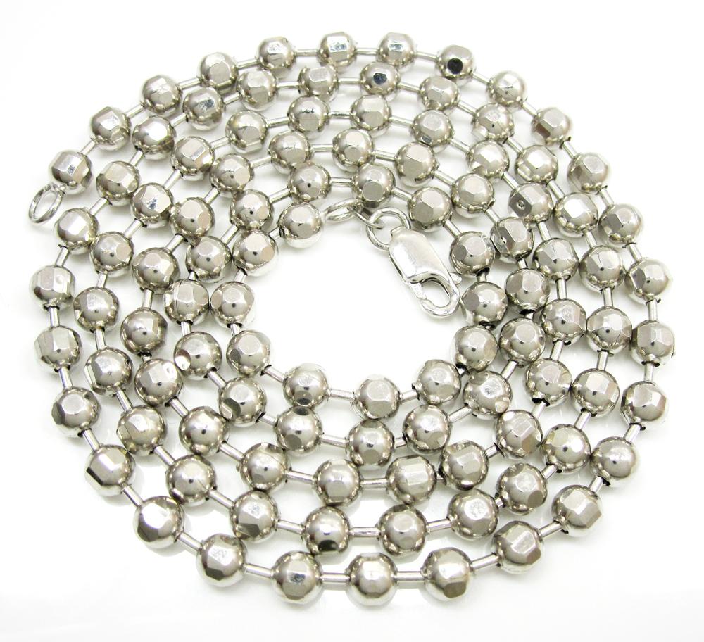 10k white gold hexagon cut ball chain 30-40 inch 5mm