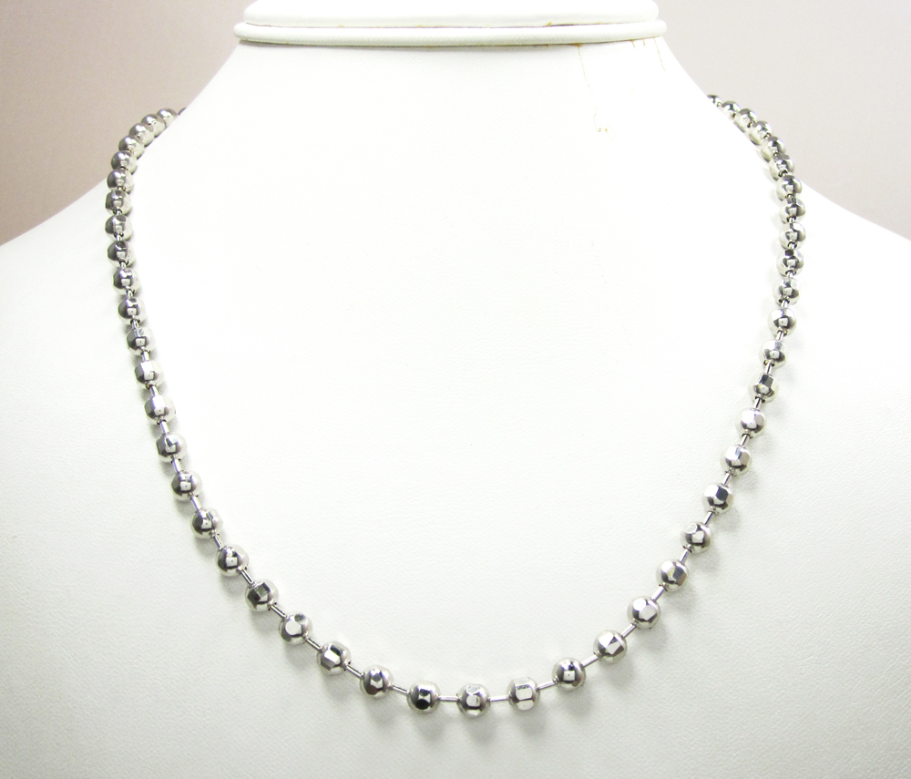 10k white gold hexagon cut ball chain 30-40 inch 5mm