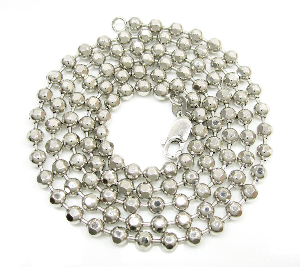10k white gold hexagon cut ball chain 26-40 inch 3.8mm
