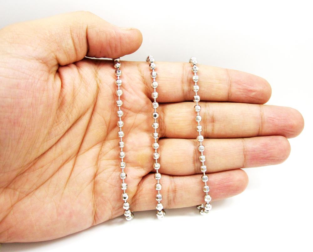 10k white gold hexagon cut ball chain 26-40 inch 3.8mm