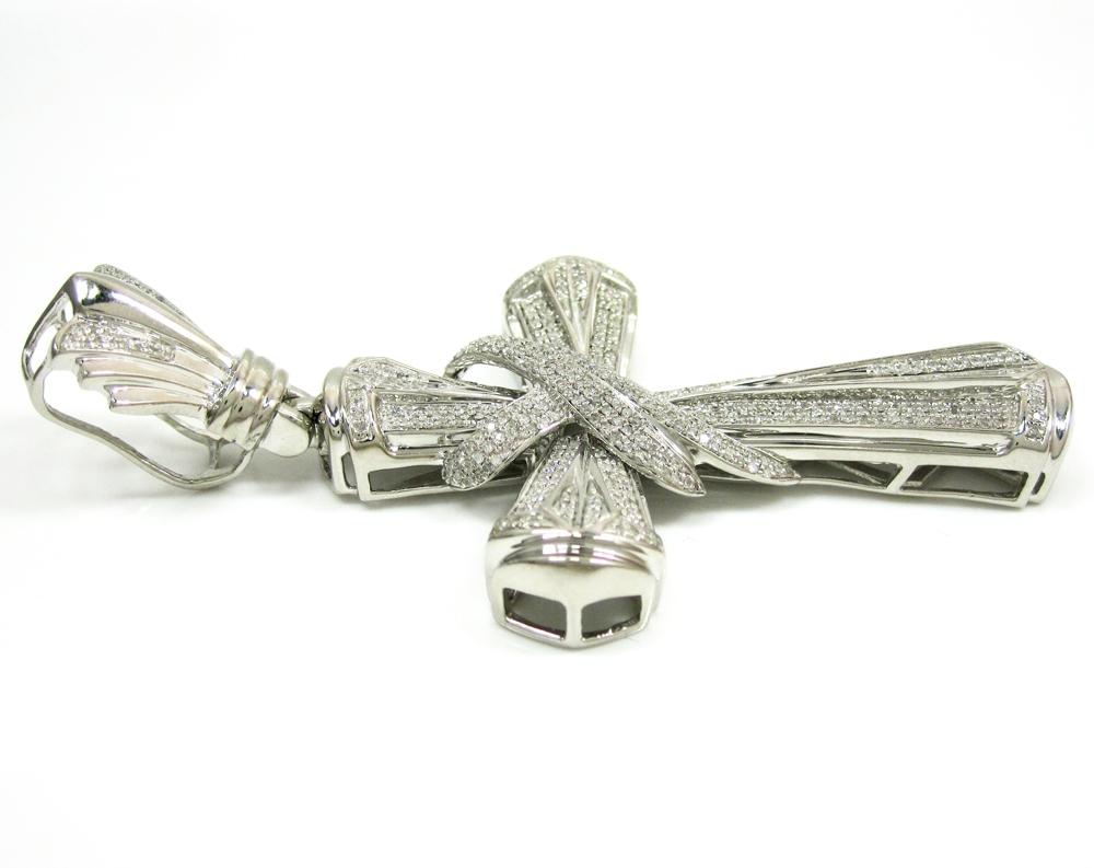 925 white sterling fancy mens diamond cross 1.50ct
