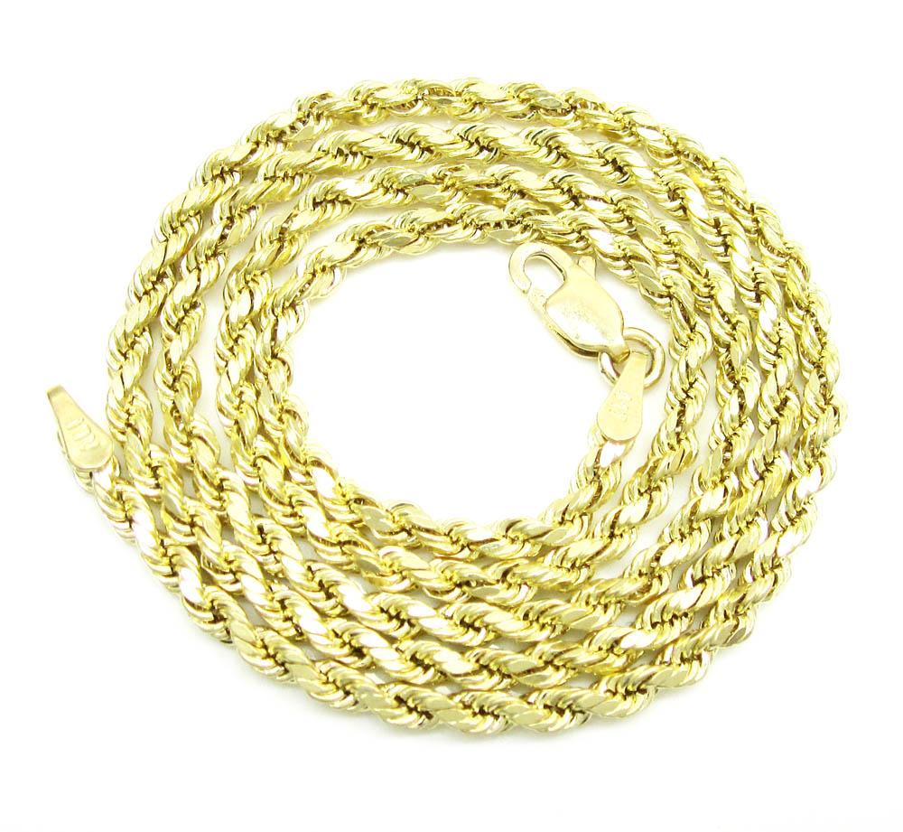 3a010c7c4 10K Yellow Gold Skinny Diamond Cut Rope Chain 16-20 Inch 2.10mm