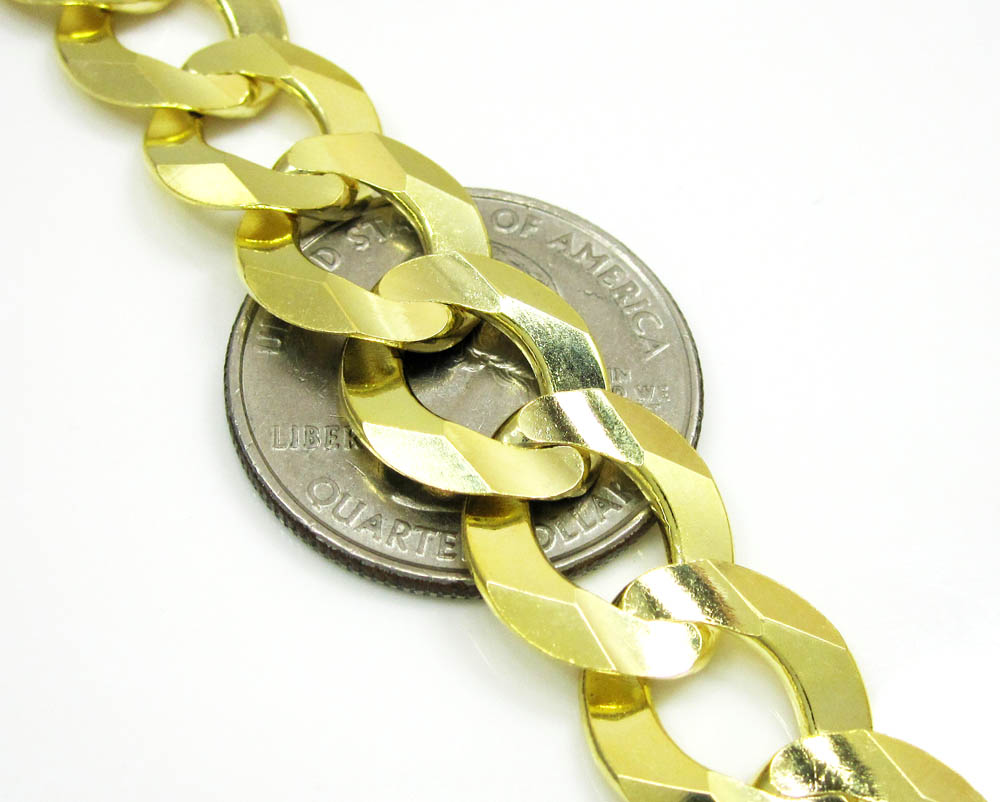 10k yellow gold thick cuban chain 26-36 inch 13mm