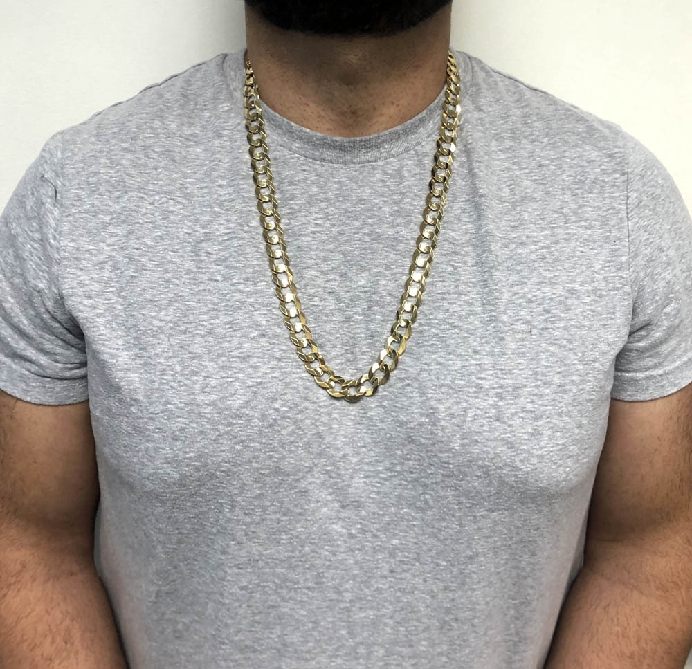 10k yellow gold thick cuban chain 26-30 inch 14.10mm