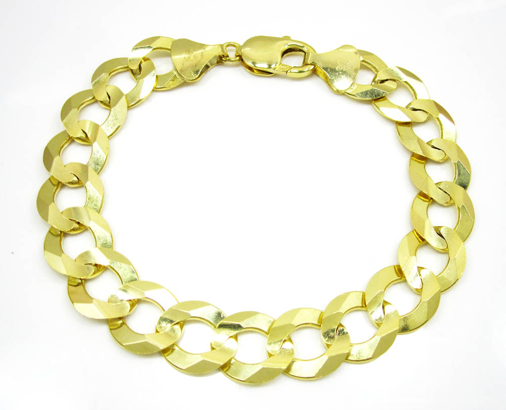 10k yellow gold thick cuban bracelet 9 inch 13mm